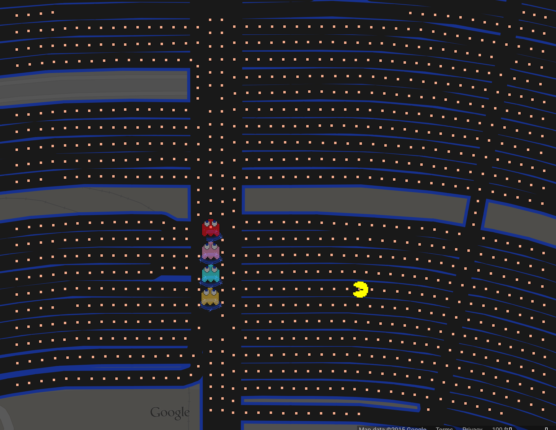 Google themes pacman - The Top Five Places To Play Pac Man At Walt Disney World On Google Maps Theme Parks And Travels